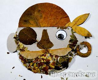 Поделка пират из листьев, фото