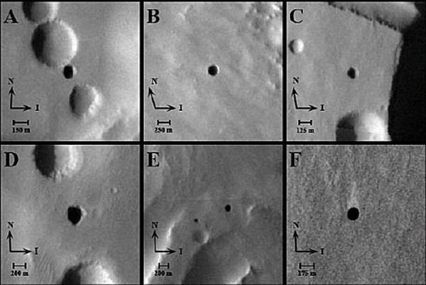 Las entradas a un mundo subterráneo en Marte