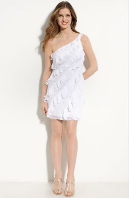 Shelli+Segal+One+Shoulder+Ruffled+Chiffon+Dress