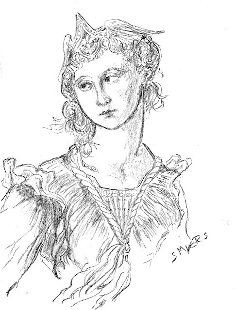 woman, renaissance, baroque, S. Myers, Sarah Myers, Botticelli, arte, art, drawing, sketch, study, charcoal, flowing, line, beauty, grace, allegorical, figure, figurative