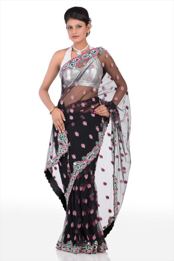 Black Net Saree desigsn