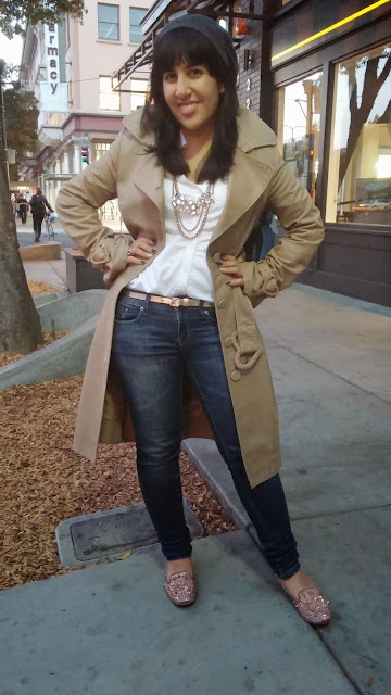 Trench Coat and Blue Jeans