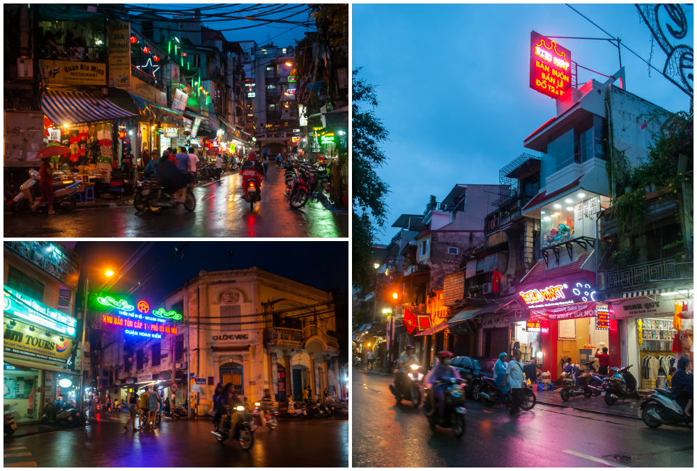 hanoi vietnam night scene and night lights