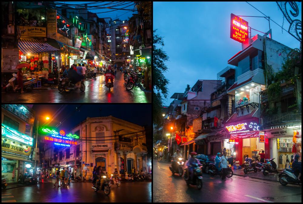 hanoi vietnam night scene and night lights