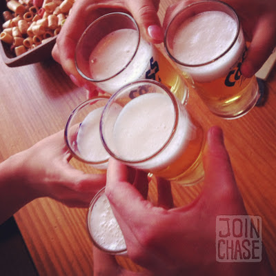Five glasses of Cass beer to cheers in South Korea.