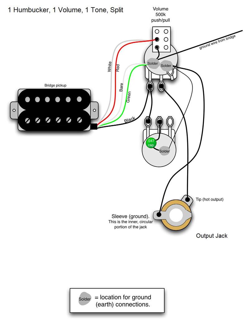 humbucker 1 volume t one wiring diagram humbucker wiring humbucker volume t one wiring diagram 1hb 1vol 1tone split