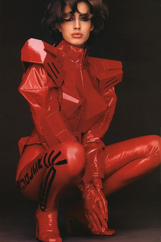Julie Anderson for Thierry Mugler, Spring 1991 by Gilles Bensimon