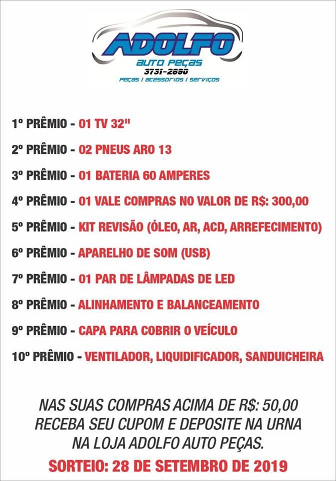 SHOW DE PRÊMIOS ADOLFO AUTO PEÇAS.