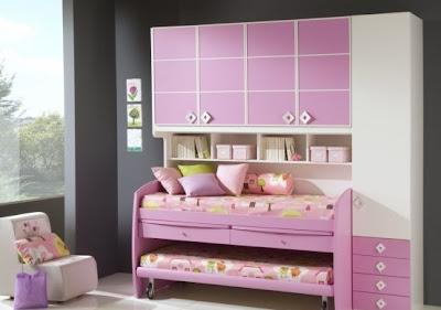 habitación niña muebles rosa