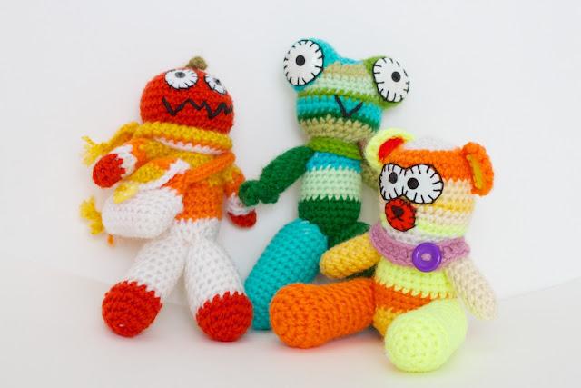 Mes créatures de laine : bonhomme citrouille, grenouille et ours CocoFlower workplace - crédits photos : Josephine Docena - www.parisianlocal.com