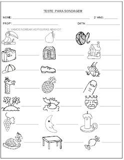 Teste para Sondagem - Leitura e escrita - Atividade para Alfabetização