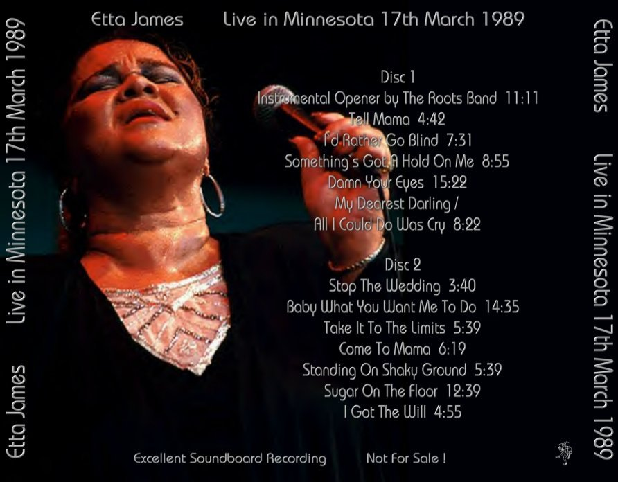 Etta James   1989 03 17   Minneapolis, MN (SBD/FLAC). (Soundboard FLAC) Etta  James
