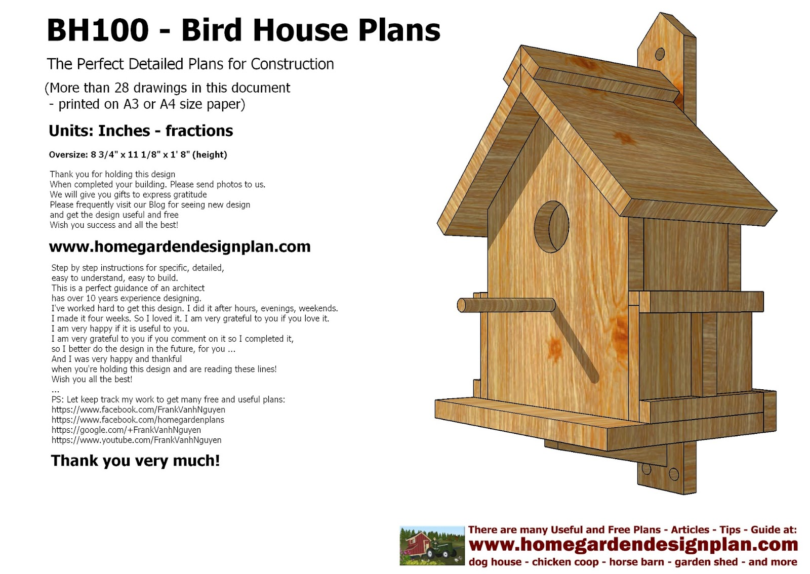 : home garden plans BH100 Bird House Plans Construction Bird House