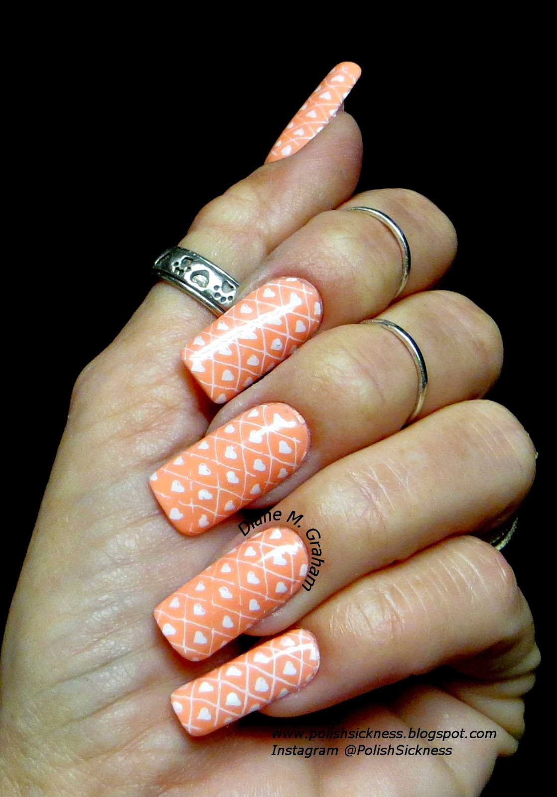 China Glaze More to Explore, Konad white, DRK-A stamp, heart,  Valentine mani