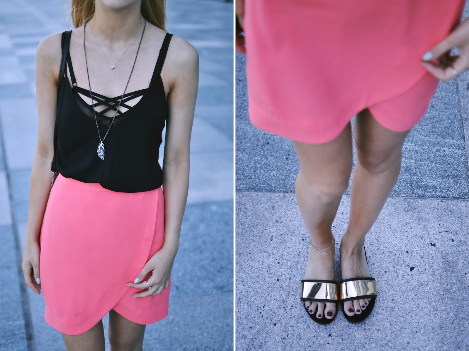 & Other Stories pink wrap skirt