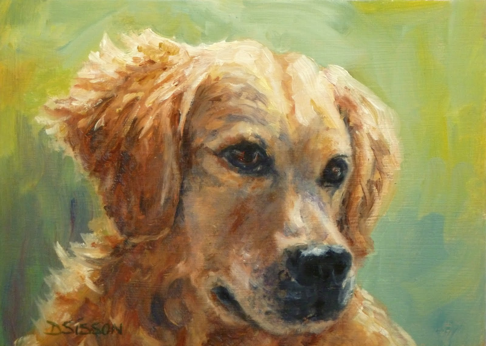 Daily painting projects golden summer oil painting dog for Dog painting artist