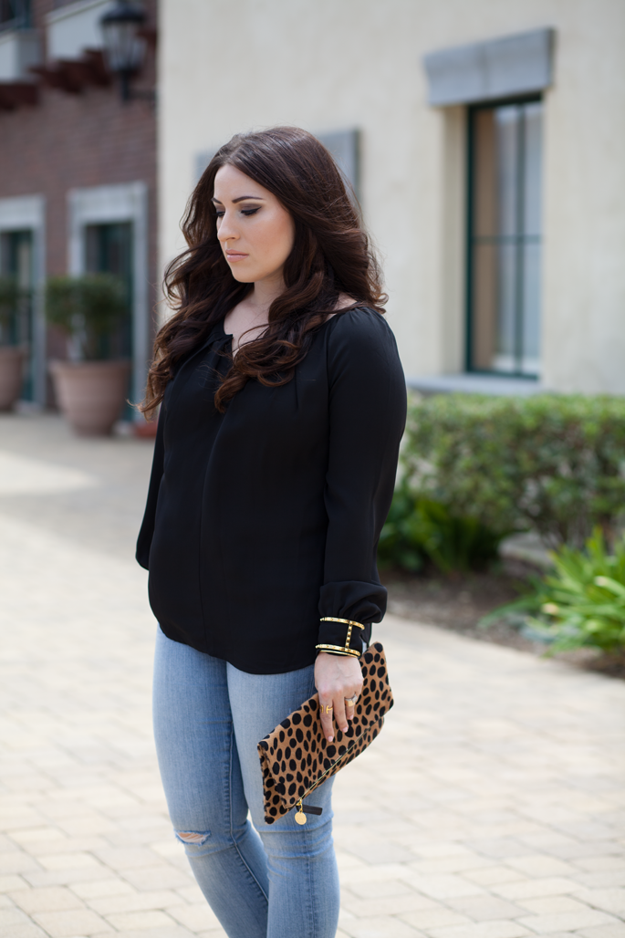 bellatrix blouse, loft denim, vince camuto cuff