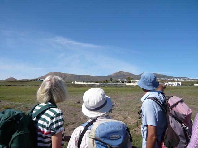 Three walkers look acros landscape