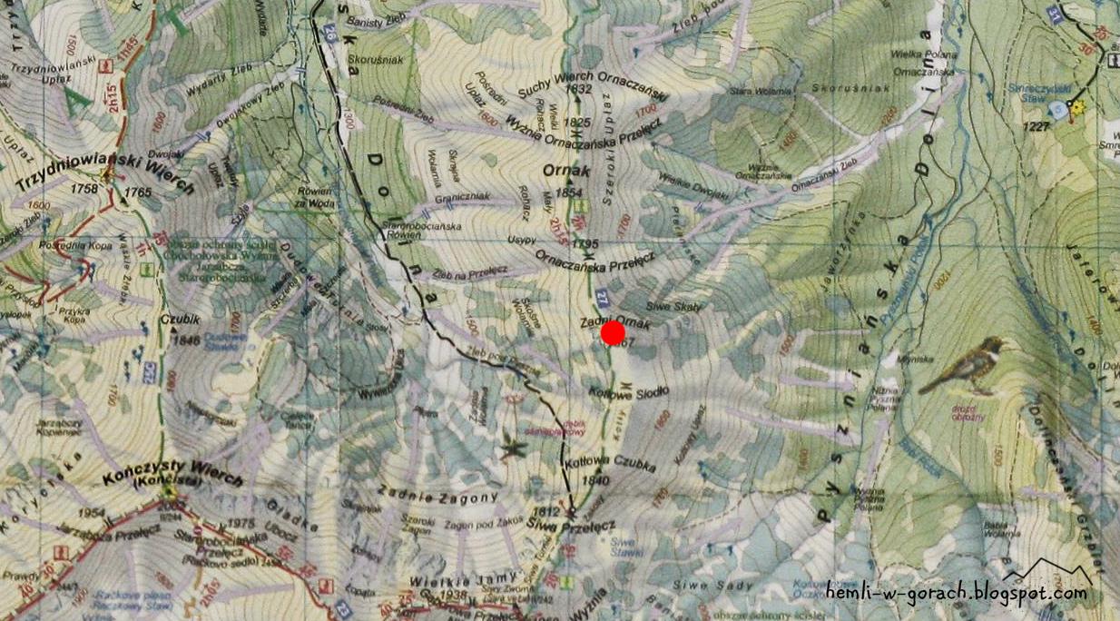 Zadni Ornak mapa