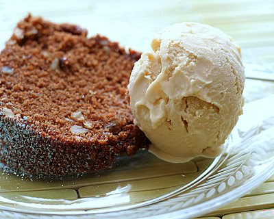 Old-Fashioned Black Walnut Chocolate Cake with Maple Ice Cream