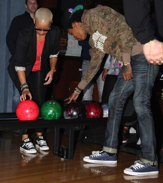 amber rose and wiz khalifa. wiz khalifa amber rose bowling