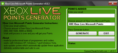 Xbox Live Microsoft Points Generator v4.8.3 Free Download