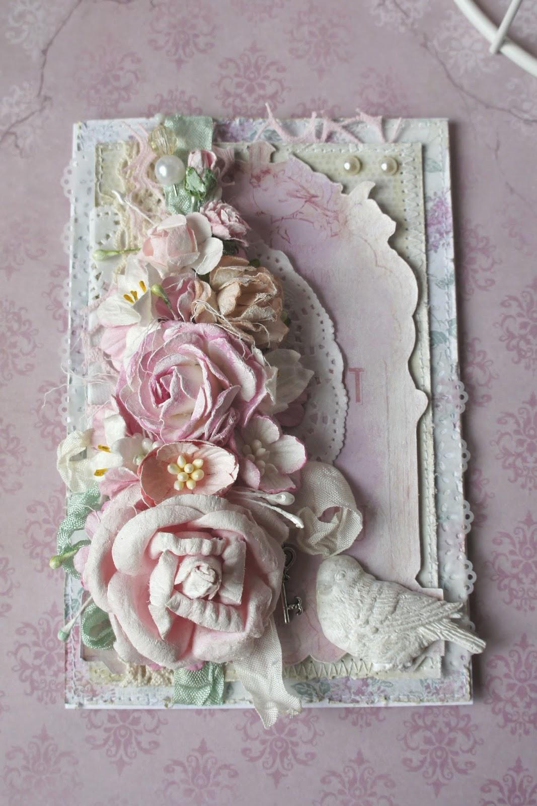 Свадебная открытка своими руками в стиле шебби-шик 9