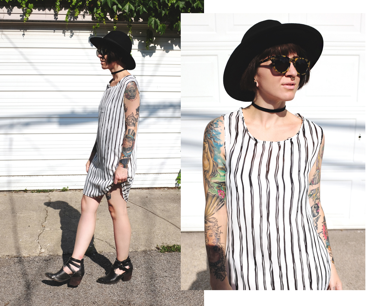 Striped Shift Dress with black rimmed hat and booties