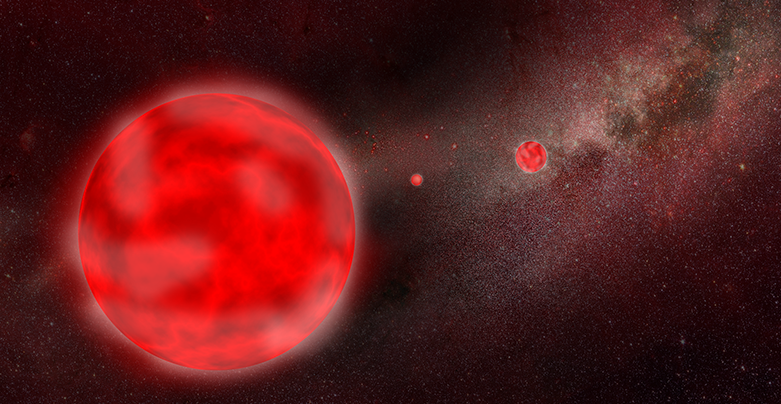 Artist impression of red giant stars in the Milky Way. (credit: AIP/ J. Fohlmeister)
