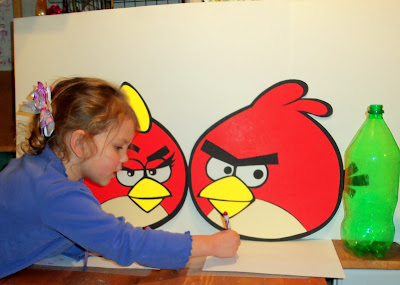 dollar store poster-board craft idea ANGRY BIRDS Red Girl Bird & Boy Bird