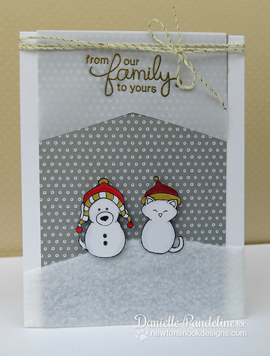 Snowman cat and dog card by Danielle Pandeline for Newton's Nook Designs - Flaky Family Snowman Stamp Set