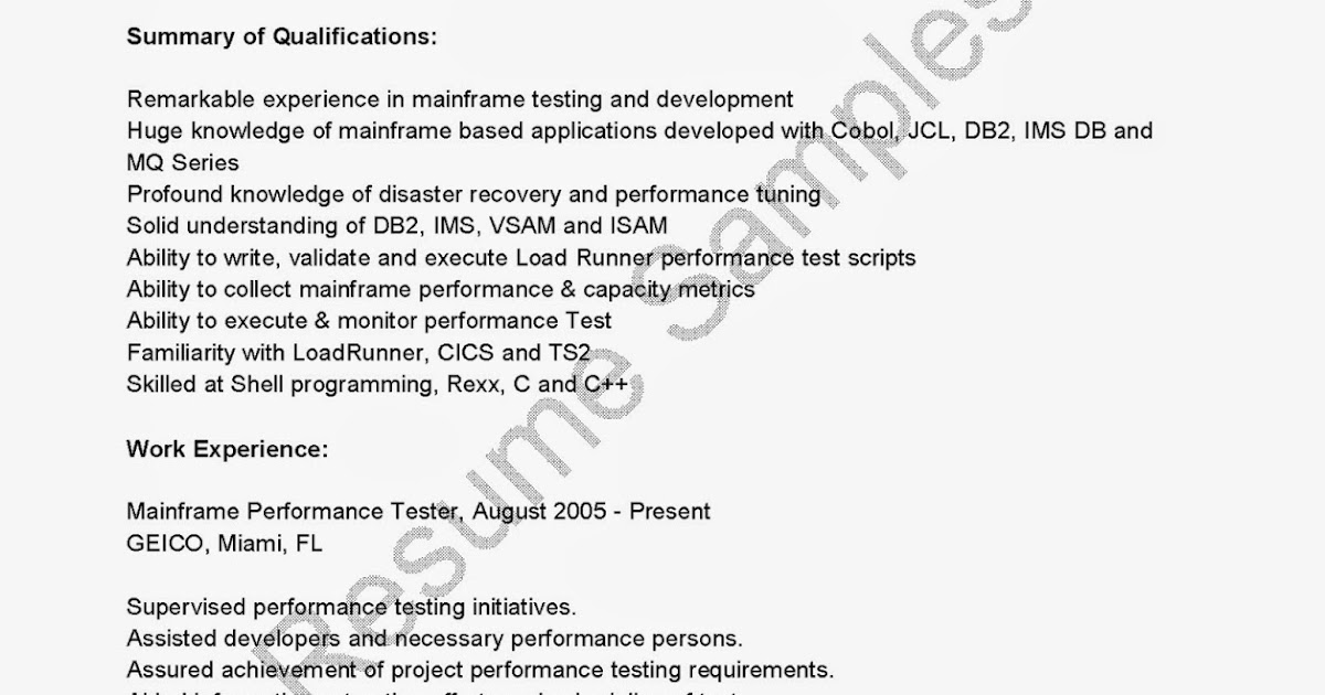 resume samples  mainframe performance tester resume sample