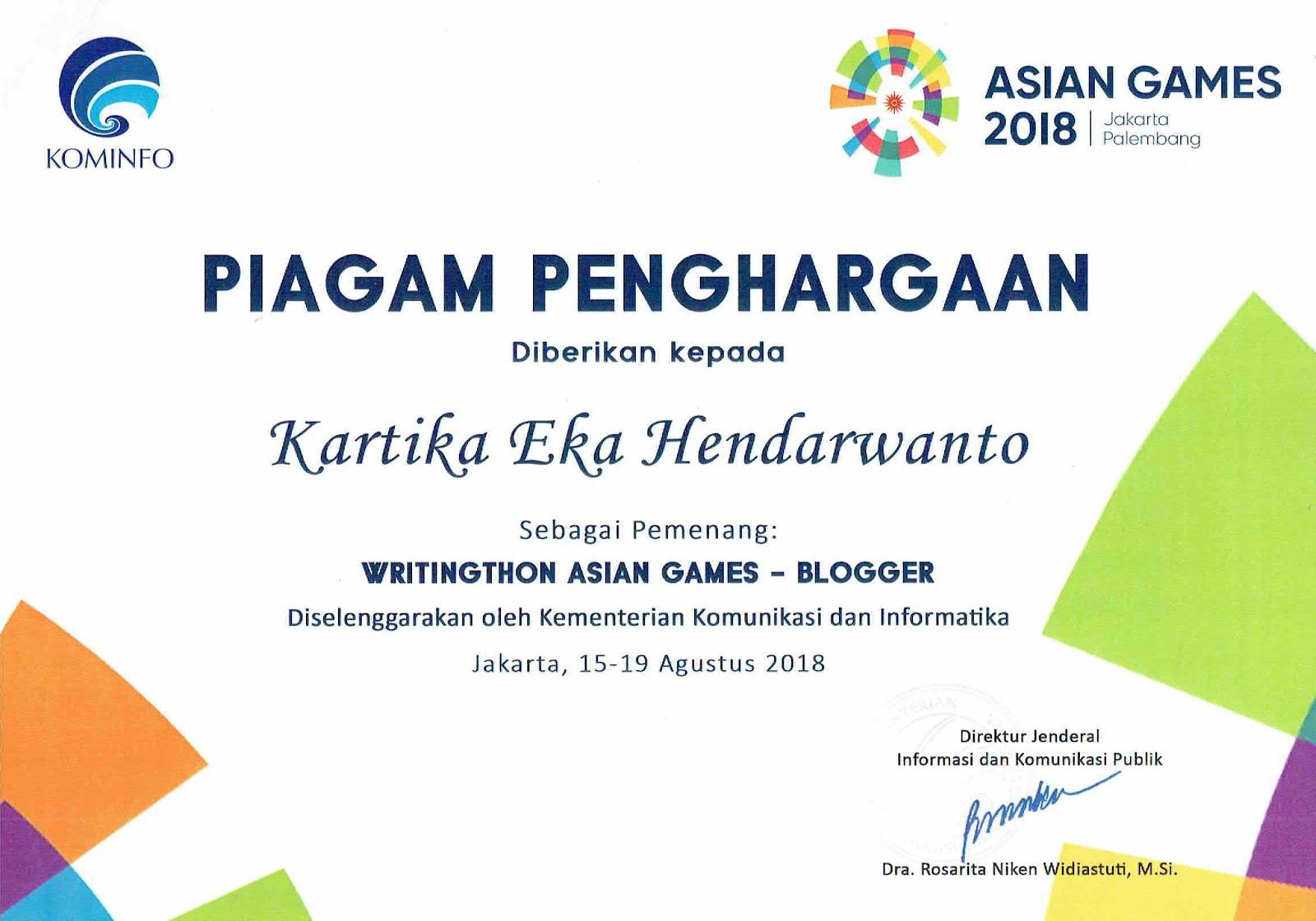 Writingthon Asian Games 2018
