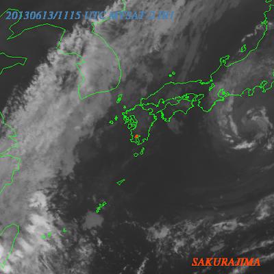 Nube de cenizas volcan Sakura-jima, 13 de Junio 2013