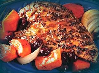 Pollo al horno con papas y camotes