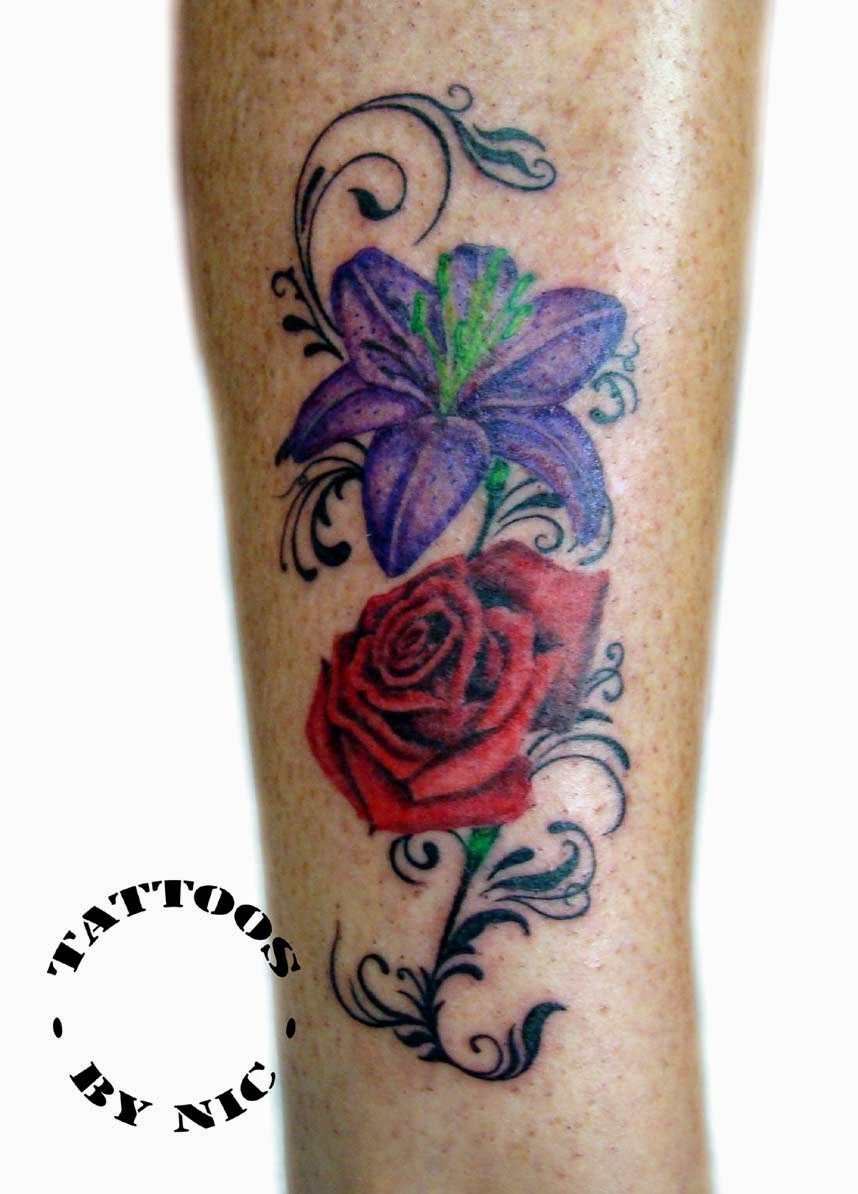 tattoos by nic nicola hanley carter lily and rose tattoo