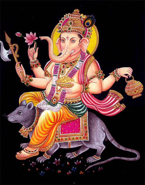 ganesha with his mount mouse