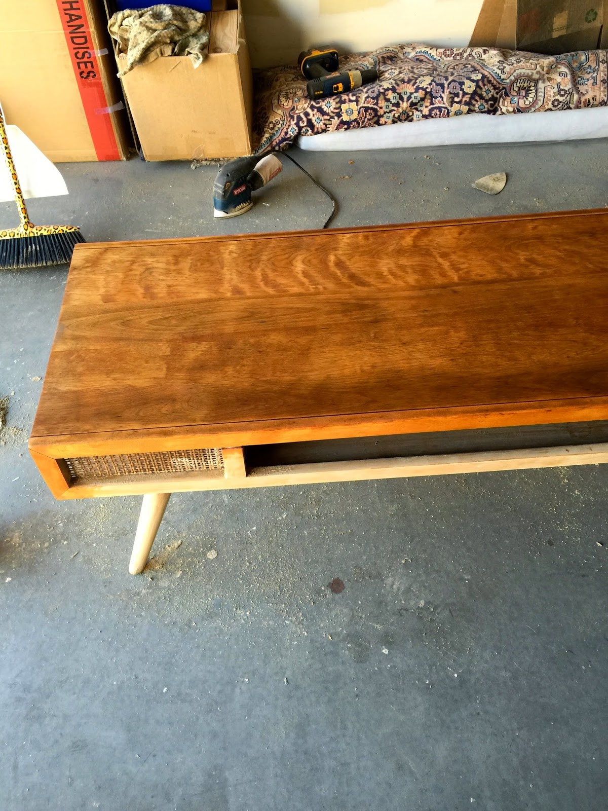 Once we got our pretty couch delivered from West Elm (all hail West Elm!),  we were able to move our finished coffee table into the living room. - Loose Shoelaces: Craigslist Coffee Table REDO