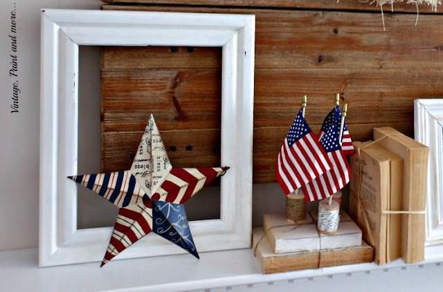 Vintage, Paint and more... a vintage patriotic mantel with old books, distressed frame, small flags and wooden spools