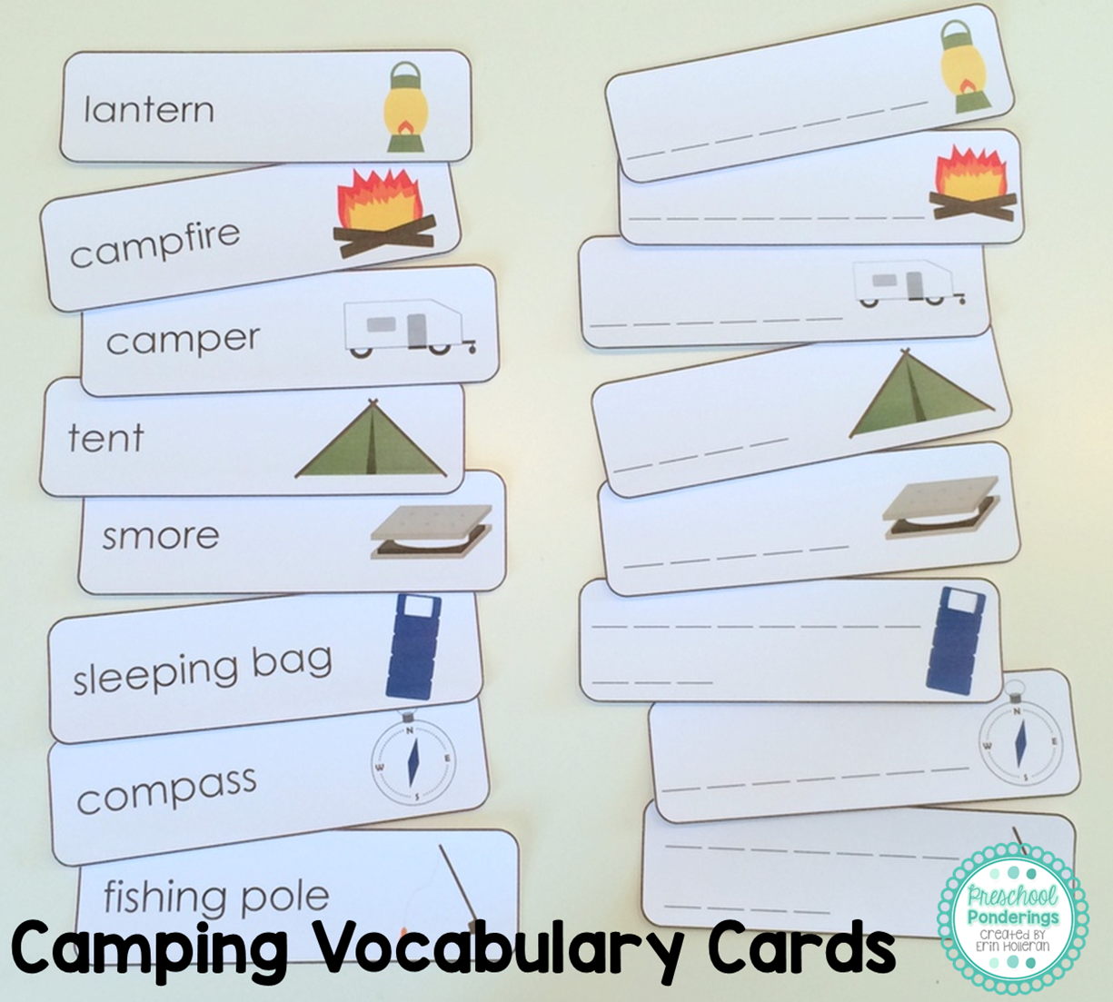 Worksheet I Words Preschool preschool ponderings camping printables for i always include vocabulary cards and this theme gave me plenty of words to work with obviously they like tent smore ca