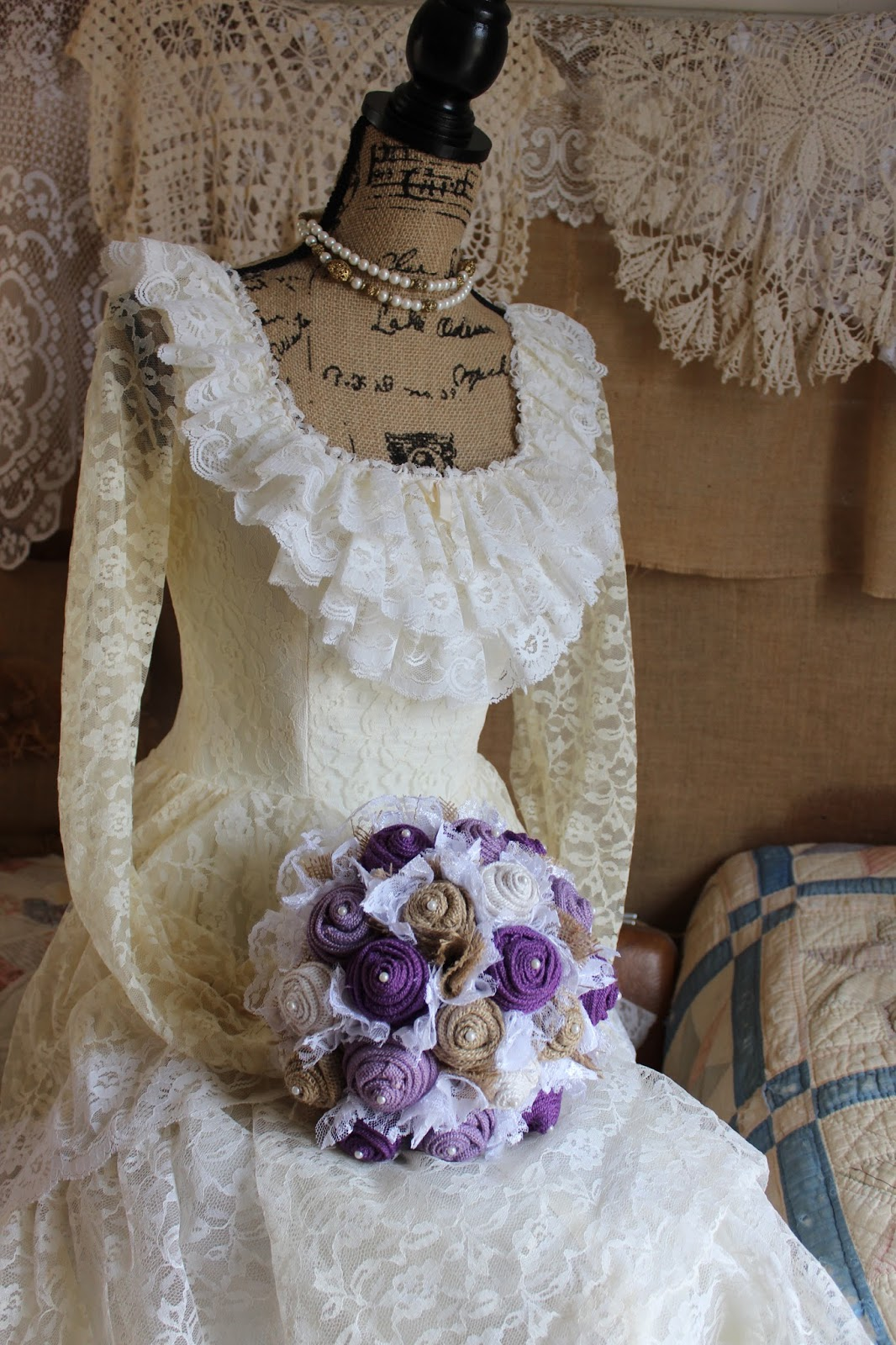 burlap and lace wedding bouquet in purple, lavender, tan, and cream