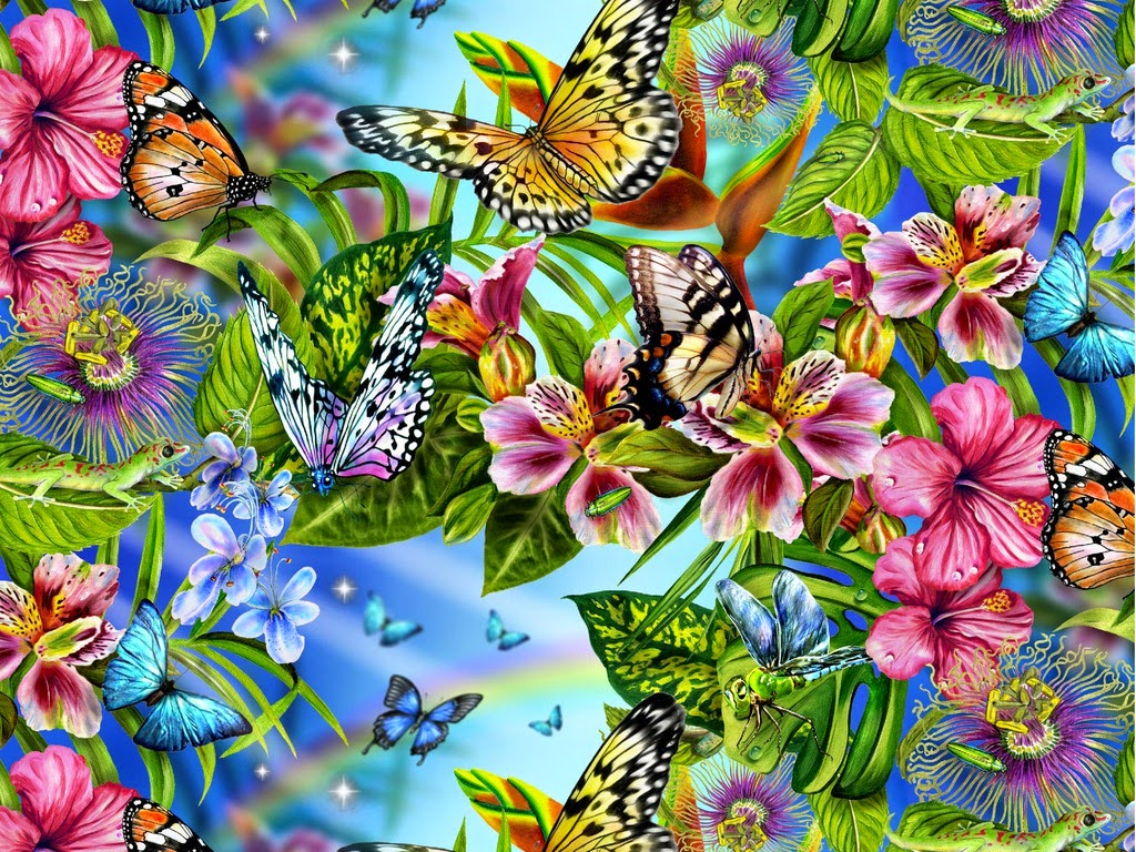 Flowers and Butterflies Free Wallpaper Desktop