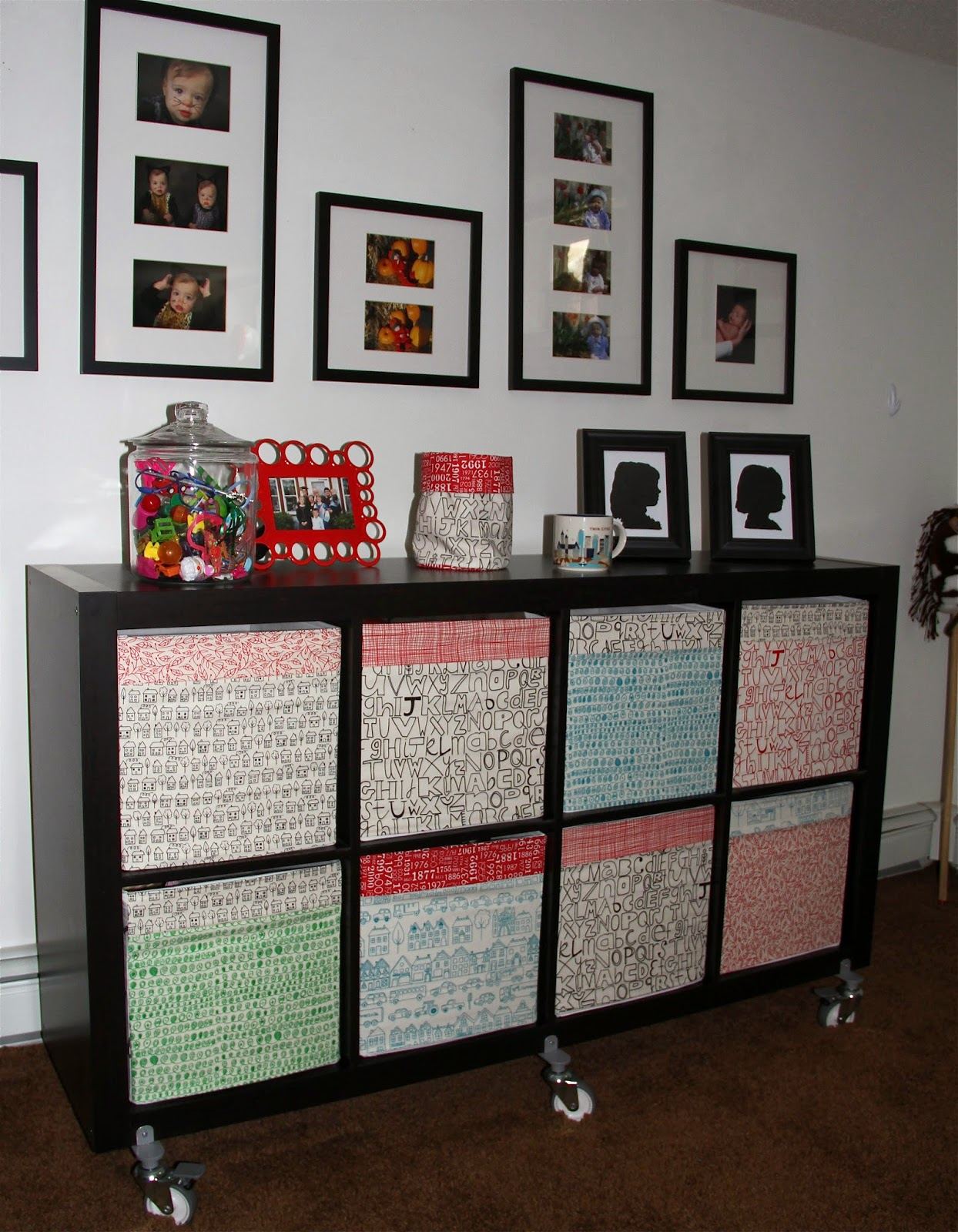 & City House Studio: Fabric Covered Ikea Storage Boxes