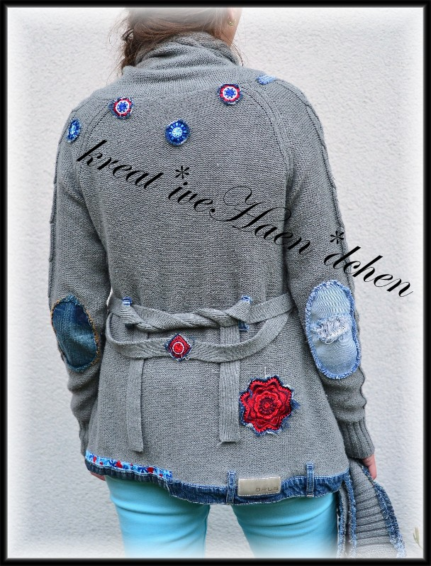 tolle Ideen*: Strickjacken Upcycling mit Jeans und Crochet