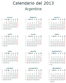 Calendario 2013 Argentina feriados fiestas