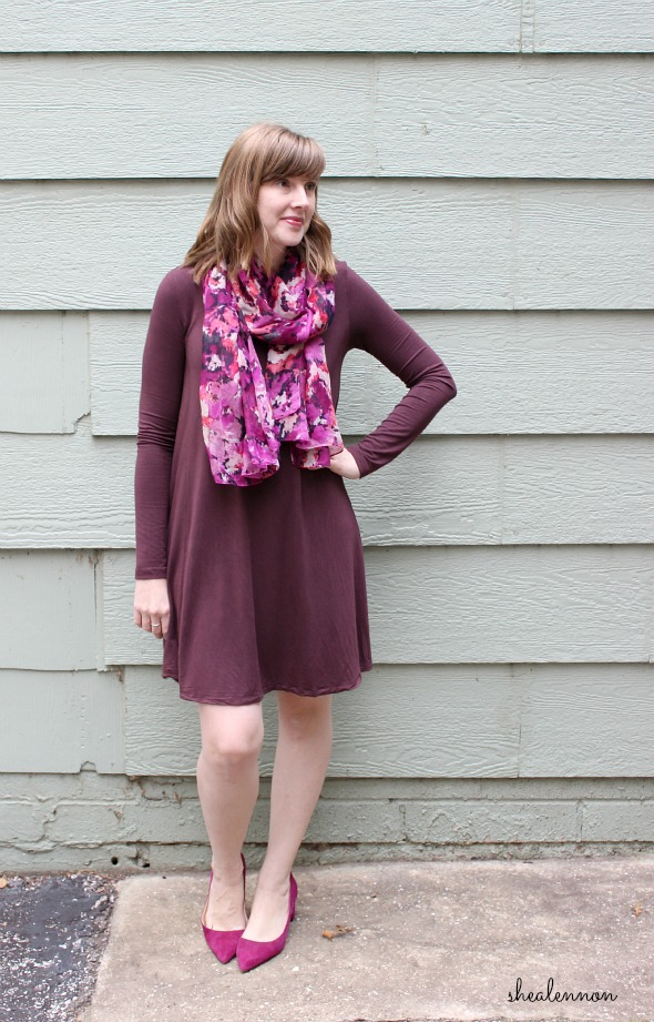 burgundy dress with shades of purple and pink | www.shealennon.com