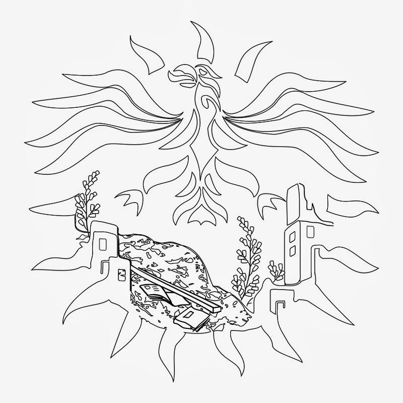 Phoenix Mexican tattoo stencil