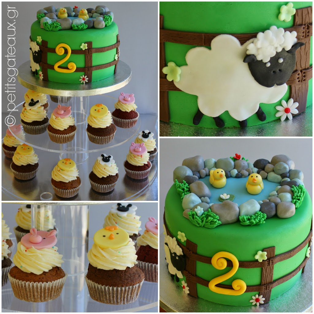 Petits Gâteaux: Animal farm themed birthday cake and cupcakes!