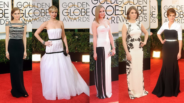 golden globes monochrome red carpet black white allison williams alexander mcqueen jennifer lawrence dior haute couture laura carmichael viktor and rolf zosia mamet reem acra julia roberts dolce and gabbana