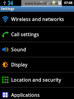 Settings - Wireless and networks